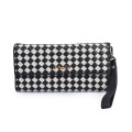 Frauen Glossy Leather Slim Minimalist Grid Wallet