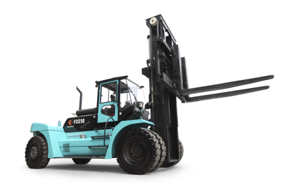 Forklift with Sideshift Fork Positioner