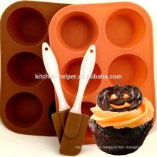 Eco-friendly fabricante profesional Precio de fábrica Muffin Shape Cake Pan Non-stick 6 tazas de muffin de silicona Pan Cake Pan