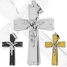 Neue Ankunft Silber Gold Schwarz Überzogene Jesus Edelstahl Kreuz Anhänger Charme Für Halskette