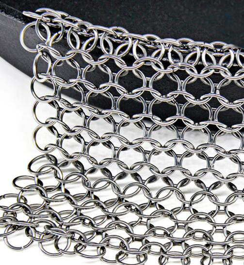 Name Cast Iron Cleaner Stainless Steel Chainmail Clean Cookware Skillet Scrubber  Material Stainless steel 304,316,316L Wire diameter 1.2mm Ring diameter 10mm Big ring diameter 25mm Weight 56g,88g,120g,150g,140g Size 4*4,5*5,6*6,7*7,8*6,etc Advantages Acid resisting,alkali resisting,heat resisting,wear resisting