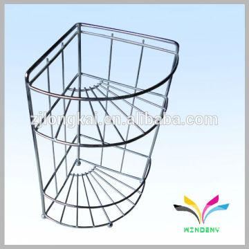 floor type chrome plated 2-tier wire metal bathroom rack