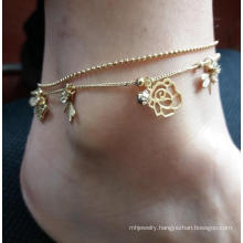 Double Anklet with Flower and Butterfly Pendant