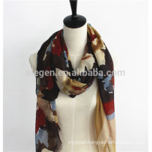 Women Spring 100% Polyester leopard printing Long Scarf