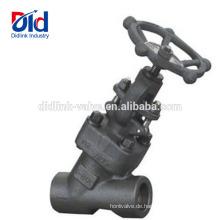 Geschmiedete pneumatische Zollzeichnung Was ist ein Winkel Api A105 Stahlgewindeanschluss Y-Kugelventil 1 2