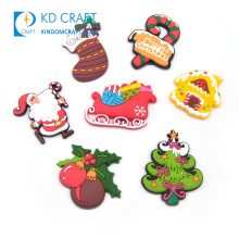 Customized made blank soft pvc embossed 3D logo resin refrigerator tourism cute souvenir festival christmas fridge magnet