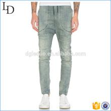 Apertura de pierna con cremallera Pantalones vaqueros de motorista para hombre pantalones de ropa