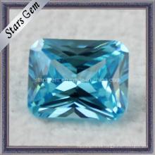Aqua azul princesa corte sintética CZ piedras preciosas