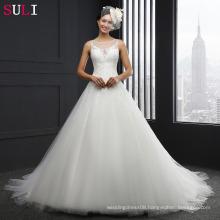 MZ-014 O-neck Lace Up Appliques Sleeveless Wedding Dress