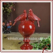 Boule de décoration intérieure avec deux oiseaux DOD161-13R rouge