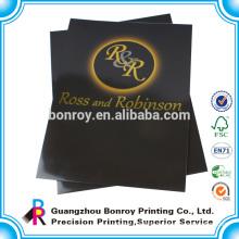 China supplier cardboard golden embossing A2 size folder