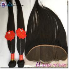 Jungfrau-indische Haar-gerade Art 13 * 6 schnüren sich frontale Stücke mit Bündel