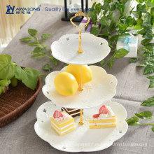 Weiße Kuchen Platten & Dessert Server / Keramik 3 abgestufte Platten / Porzellan Tiered Serving Ware
