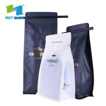bolsa de granos de café de papel de aluminio con válvula lateral y cremallera