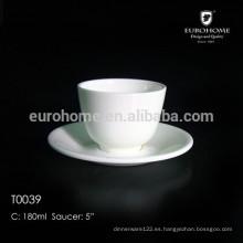 Taza de café de China de hueso con platillo y taza de cerámica de variedad única y taza de China de hueso