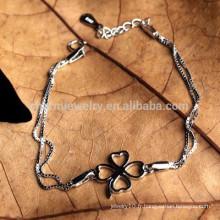 CYL004 100% Bracelets en argent sterling 925 pour femmes avec charme à trèfle Four Leaf Double bijoux en or blanc 18 carats en or