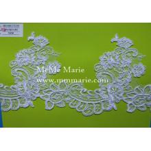 Stickerei-Spitze-Gewebe-weiße Spitze-Ordnung mit Blumen-Schaufel-Ansatz-Spitze CTC376
