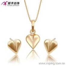 Moda elegante em forma de coração 18k banhado a ouro conjunto de jóias de imitação -63741