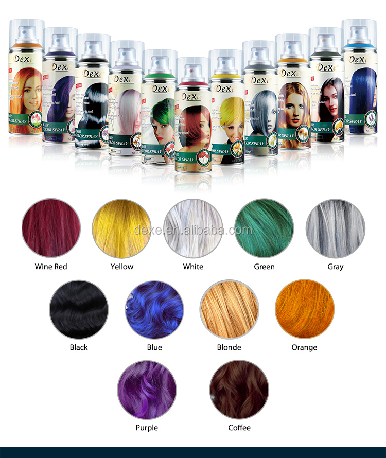 Natural private label temporary hair color spray for one time hair coloring