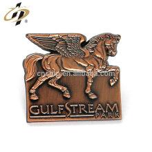 Custom zinc alloy 3D antique copper metal horse badge pins