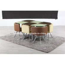 Hot Sell 6 Seater Glass Dining Table and PU Chair