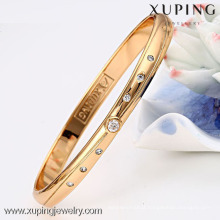 51197 Xuping simple design girls fancy stone diamond bangles with 18K Gold Plated