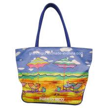 Bolso de compras de la lona de algodón de las señoras con la impresión de la playa
