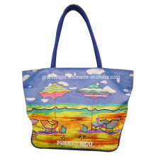 Ladies Cotton Canvas Shopping Bag with Beach Printing