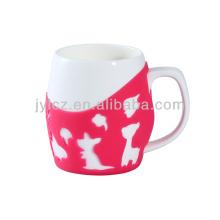 Keramische einfache weiße Kaffeetasse 600cc mit Silikonhülse