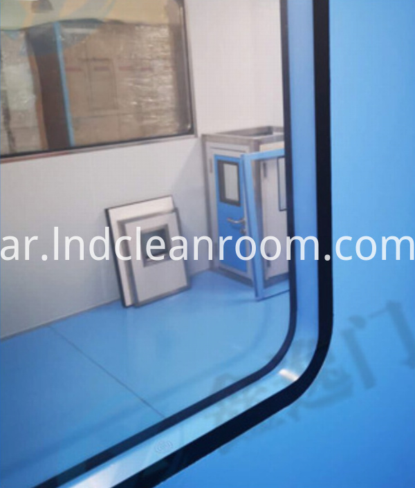 Clean room door with visible window