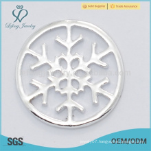 Hot sale personalized snowflake pure silver clear lockets plate jewelry