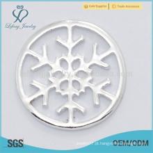 A venda quente personalizou a jóia pura da placa dos lockets da prata pura do floco de neve