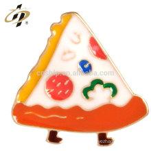 Custom alloy stamping enamel logo metal Pizza badge pin with magnet