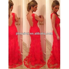 Sexy V-neck Red Applique Sleeveless Floor-length Lace Backless Mermaid Evening Dress