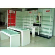 Mixed Material Metal Wood Glass Food Kiosk Design In-Store Retail Fixtures Advertising Display Unit