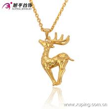 32521 Moda animada animal en forma de ciervo 24k cadena de colgante de joyería de imitación de oro plateado