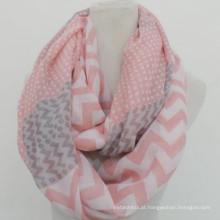 Whosale elegância moda círculo macio impressão personalizada prink algodão voile infinito chevron lenços