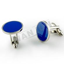 Никелированные голубые пустые запонки для мужчин