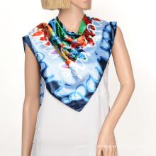 2016 cetim lenço de seda quadrado hijabs com padrão personalizado