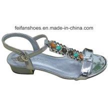 2016 novo estilo de moda de alta qualidade diamante senhora sandálias de salto de cunha