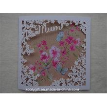 Cartões de presente de saudação de papel de arte de qualidade com a janela esculpida flor para o dia das mães