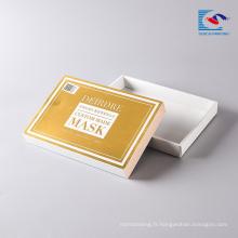 Boîte d'emballage de masque facial cosmétique de papier de dessus et de base