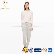 Pantalones de ganchillo de punto estilo casual Lady Wool