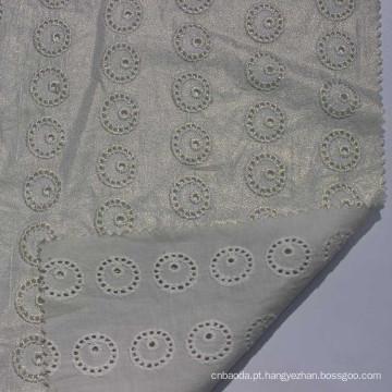 Tecido de renda química 100% algodão bordado ilhós