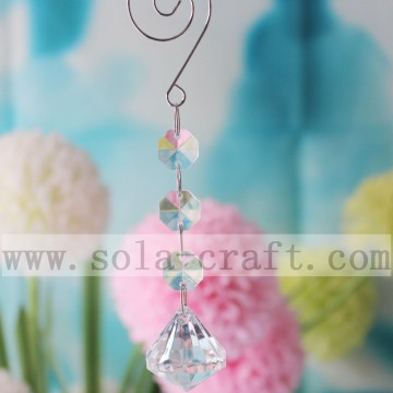 Clear Octagon Beads Crystal Kroonluchter Lamp Prisms Ornament 14CM