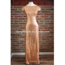 2016 Elegante Gold Sequin Top Vestidos de noche para las mujeres Maxi Dress To Party