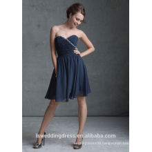 HB2004 Hot sale crystal beaded sweetheart neckline strapless knee length cheap sexy zipper chiffon bridesmaid dresses