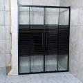Black Line Glass Black Alloy Aluminium Sliding Door