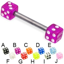Acrylic Dice Titanium Straight Barbell Tongue Bar