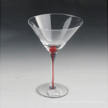 Mouth Blown Glass with Color Stem Red Line